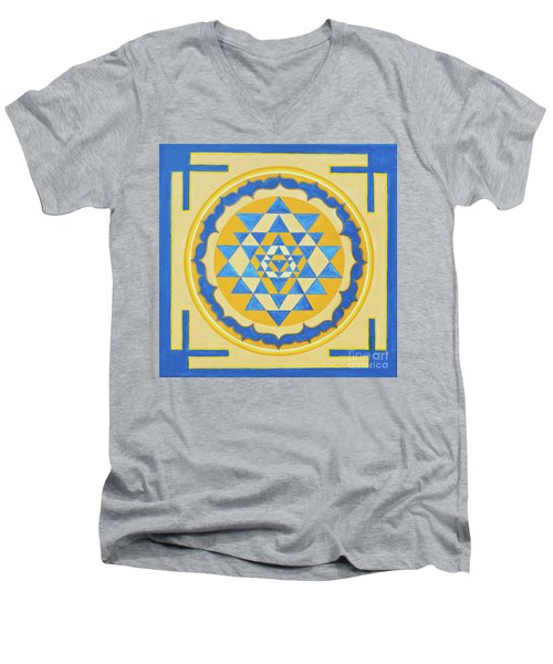 Shri Yantra For Meditation Painted Men's V-Neck T-Shirt