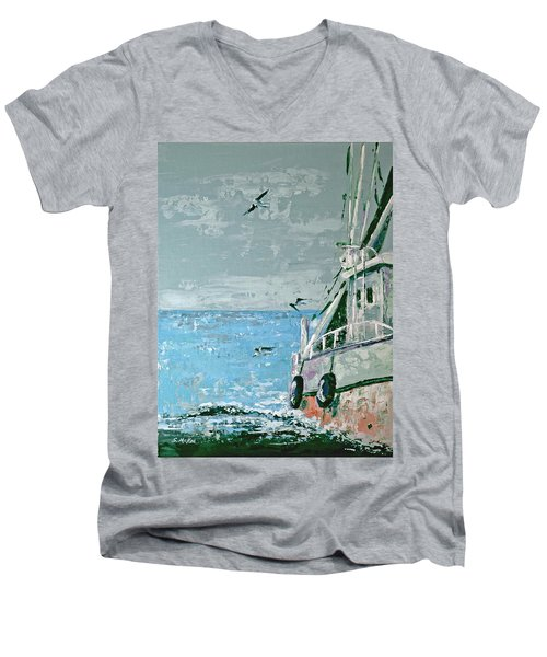 Men's V-Neck T-Shirt featuring the painting Shrimp Boat In The Gulf by Suzanne McKee
