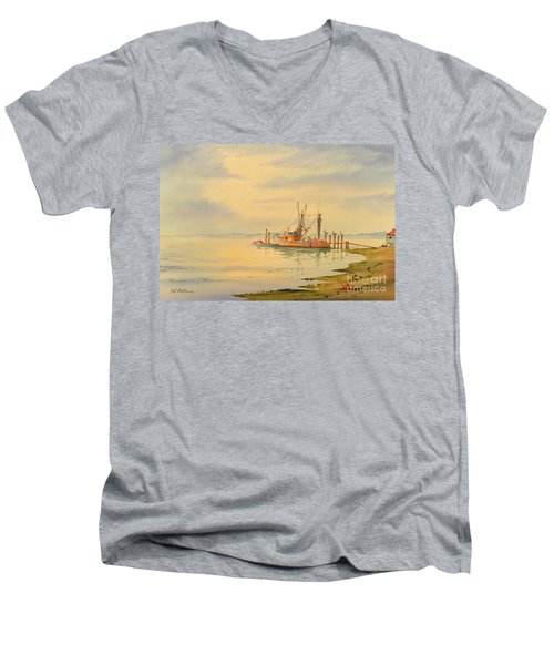 Men's V-Neck T-Shirt featuring the painting Shrimp Boat Sunset by Bill Holkham