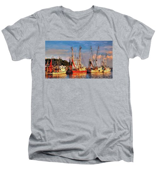 Shrimp Boats Shem Creek In Mt. Pleasant  South Carolina Sunset Men's V-Neck T-Shirt