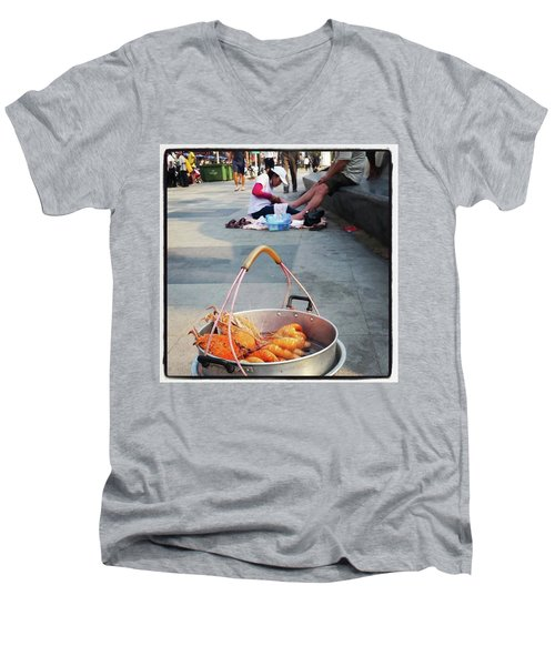 Men's V-Neck T-Shirt featuring the photograph Shrimping And Crabbing On The by Mr Photojimsf