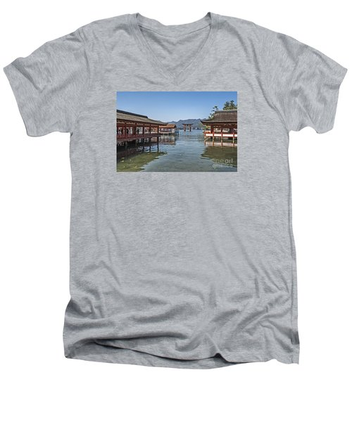 Men's V-Neck T-Shirt featuring the photograph Shrine Over Water by Pravine Chester