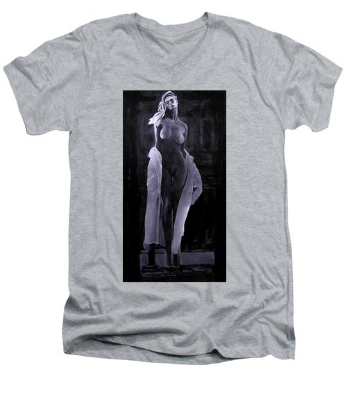 Men's V-Neck T-Shirt featuring the painting Shudder Before The Beautiful by Jarko Aka Lui Grande