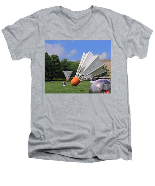 Shuttlecock Visitors Men's V-Neck T-Shirt by Christopher McKenzie