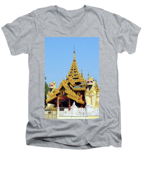 Men's V-Neck T-Shirt featuring the digital art Shwedagon Pagoda 1 by Eva Kaufman
