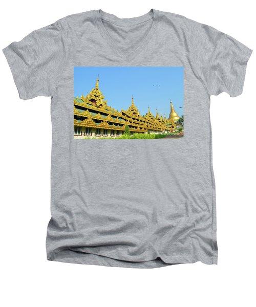 Men's V-Neck T-Shirt featuring the digital art Shwedagon Pagoda 2 by Eva Kaufman