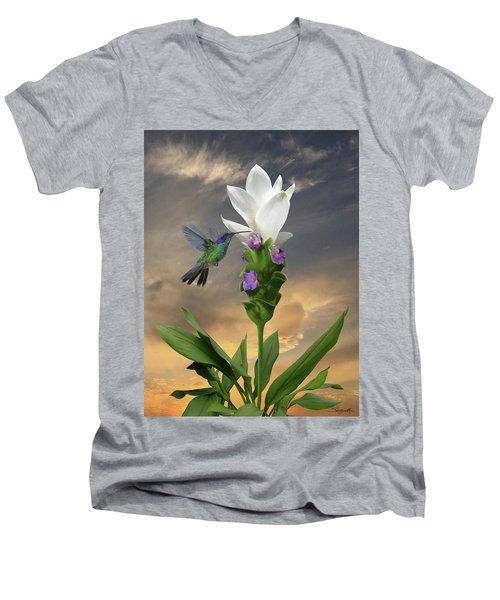 Siam Sparkling Curcuma And Hummingbird Men's V-Neck T-Shirt