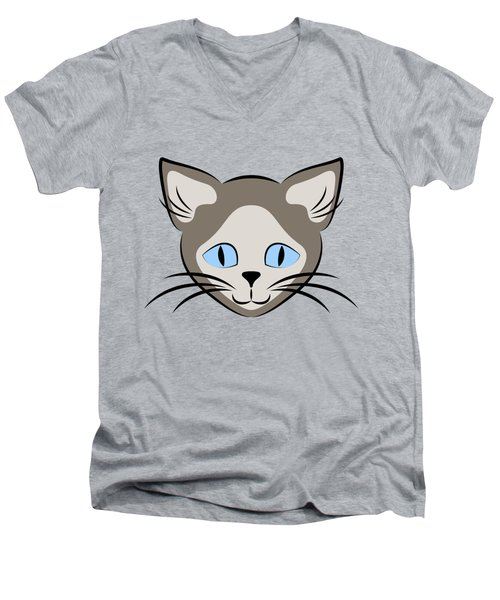 Siamese Cat Face With Blue Eyes Dark Men's V-Neck T-Shirt