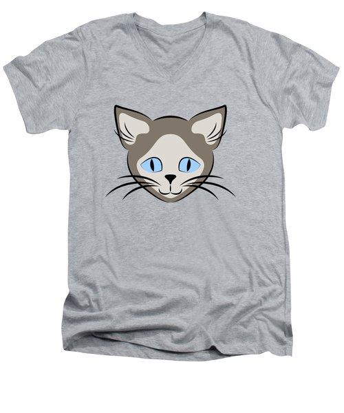Siamese Cat Face With Blue Eyes Dark Men's V-Neck T-Shirt