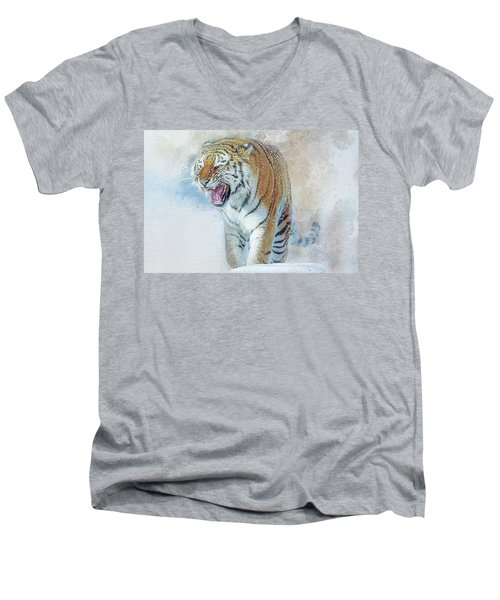 Siberian Tiger In Snow Men's V-Neck T-Shirt by Brian Tarr
