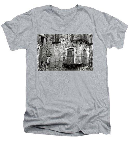 Sicilian Medieval Facade Men's V-Neck T-Shirt