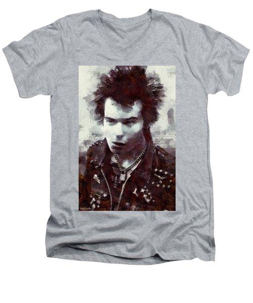 Men's V-Neck T-Shirt featuring the digital art Sid by Pennie McCracken