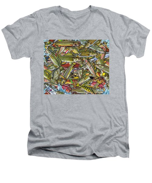 Men's V-Neck T-Shirt featuring the painting Side Fish Collage by Jon Q Wright JQ Licensing
