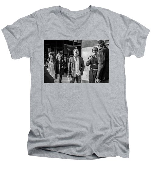 Men's V-Neck T-Shirt featuring the photograph Sidewalk Circulation by David Sutton