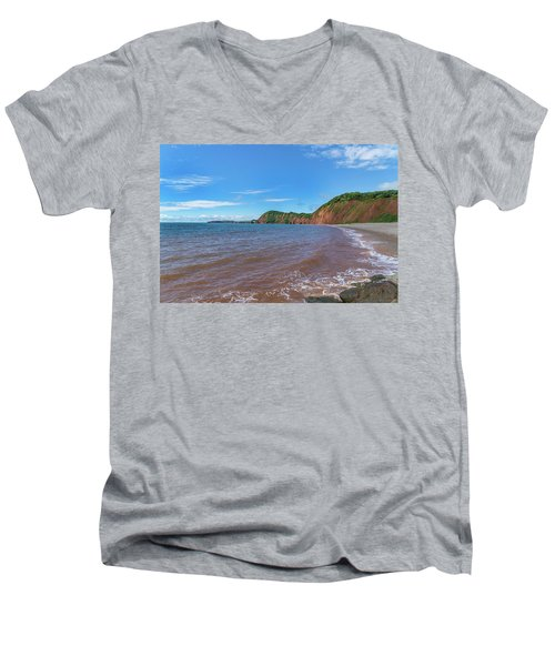 Men's V-Neck T-Shirt featuring the photograph Sidmouth Jurassic Coast by Scott Carruthers