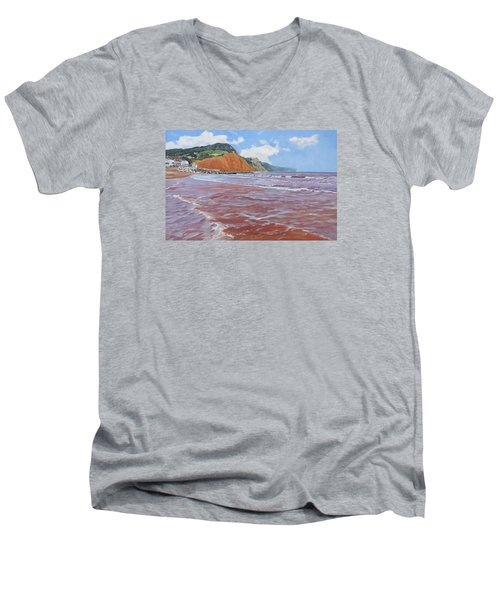 Men's V-Neck T-Shirt featuring the painting Sidmouth by Lawrence Dyer
