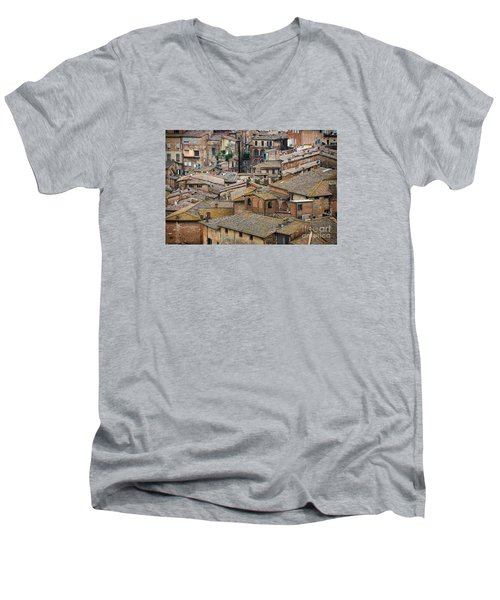 Siena Colored Roofs And Walls In Aerial View Men's V-Neck T-Shirt