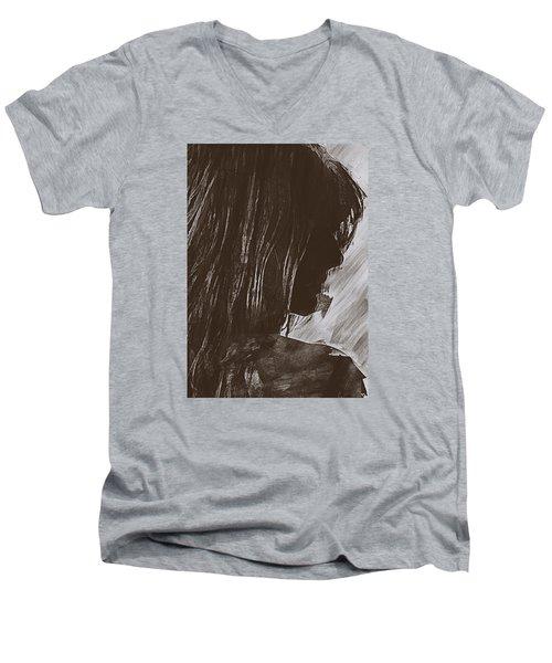 Men's V-Neck T-Shirt featuring the digital art Sienna by Galen Valle