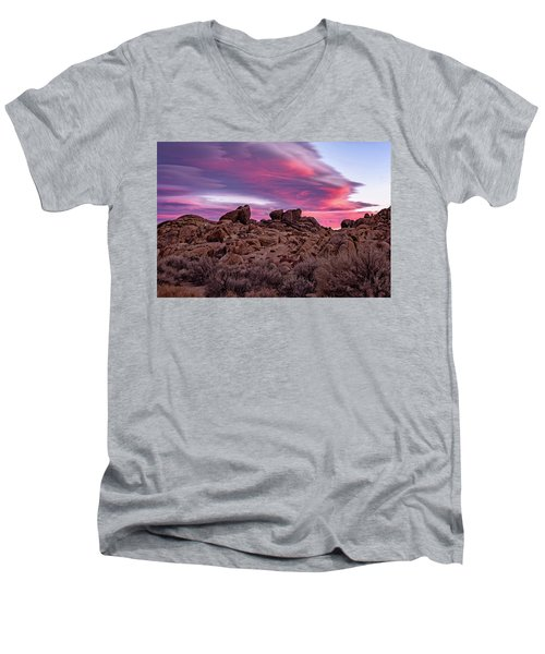 Sierra Clouds At Sunset Men's V-Neck T-Shirt