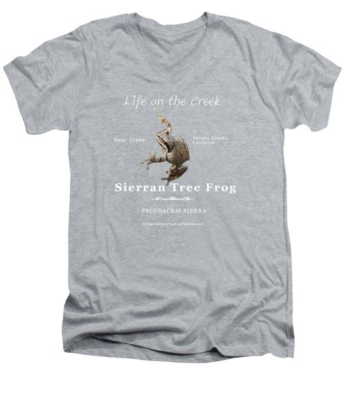 Sierran Tree Frog - Photo Frog, White Text Men's V-Neck T-Shirt