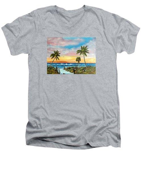 Siesta Key At Sunset Men's V-Neck T-Shirt