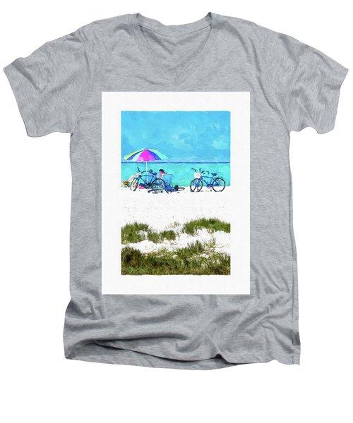 Siesta Key Beach Bikes Men's V-Neck T-Shirt by Susan Molnar