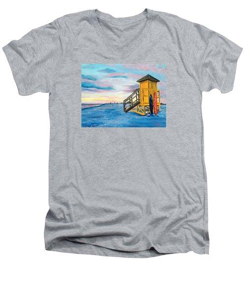 Siesta Key Life Guard Shack At Sunset Men's V-Neck T-Shirt