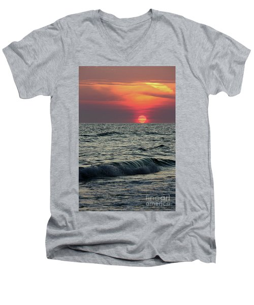 Men's V-Neck T-Shirt featuring the photograph Siesta Key Sunset by Terri Mills
