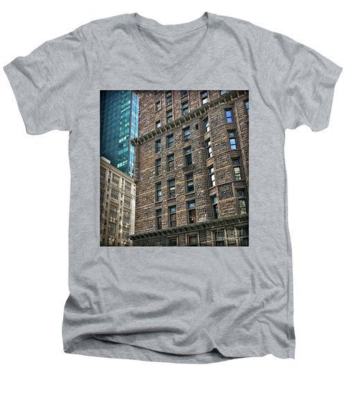 Men's V-Neck T-Shirt featuring the photograph Sights In New York City - Old And New by Walt Foegelle
