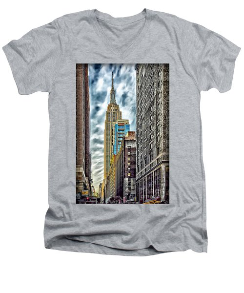 Men's V-Neck T-Shirt featuring the photograph Sights In New York City - Skyscrapers 10 by Walt Foegelle