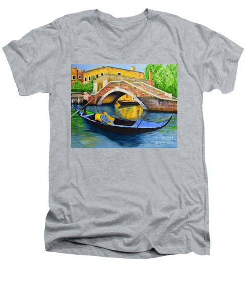 Men's V-Neck T-Shirt featuring the painting Sightseeing by Melvin Turner