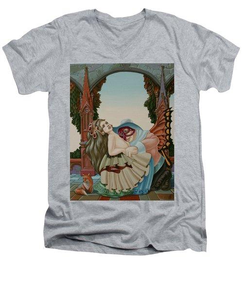 Sigmund Freud With A Fox Men's V-Neck T-Shirt