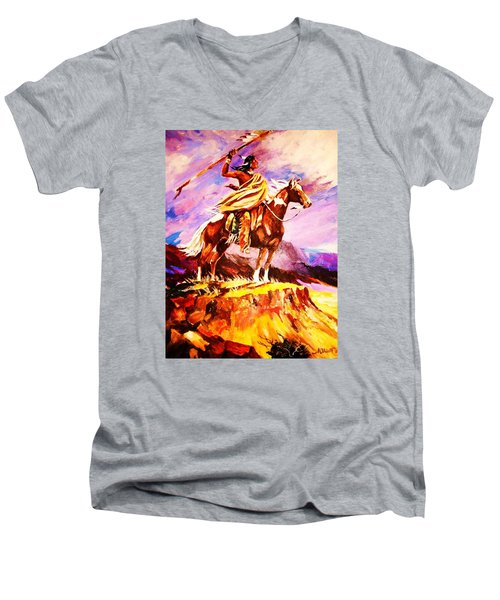 Men's V-Neck T-Shirt featuring the painting Signalling Sighting Of The Buffalo Herd by Al Brown