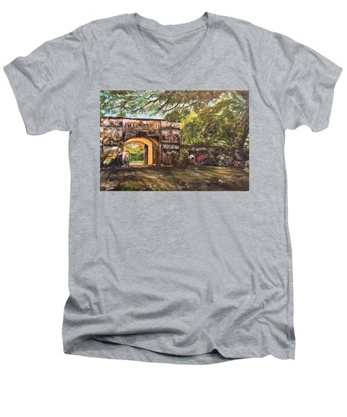 Men's V-Neck T-Shirt featuring the painting Silence Is Golden by Belinda Low
