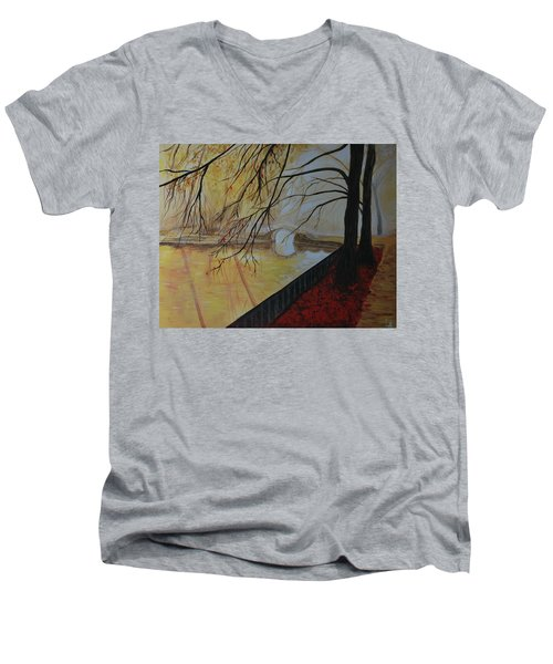 Men's V-Neck T-Shirt featuring the painting Silence by Leslie Allen
