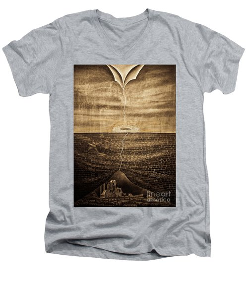 Silent Echo Beige Men's V-Neck T-Shirt