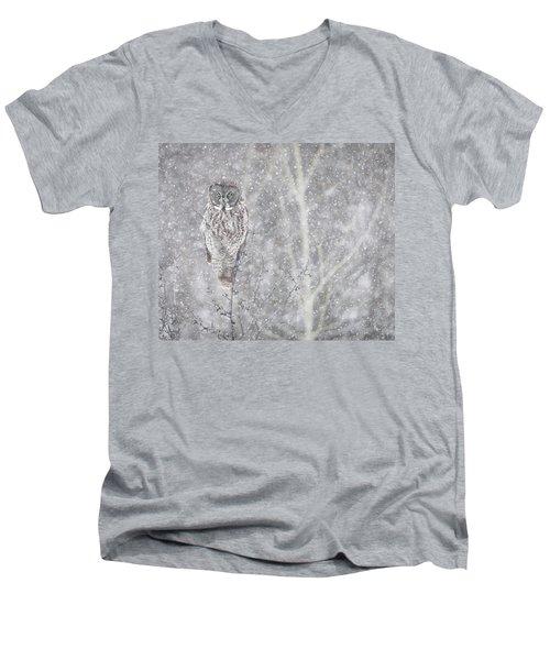 Men's V-Neck T-Shirt featuring the photograph Silent Snowfall Landscape by Everet Regal