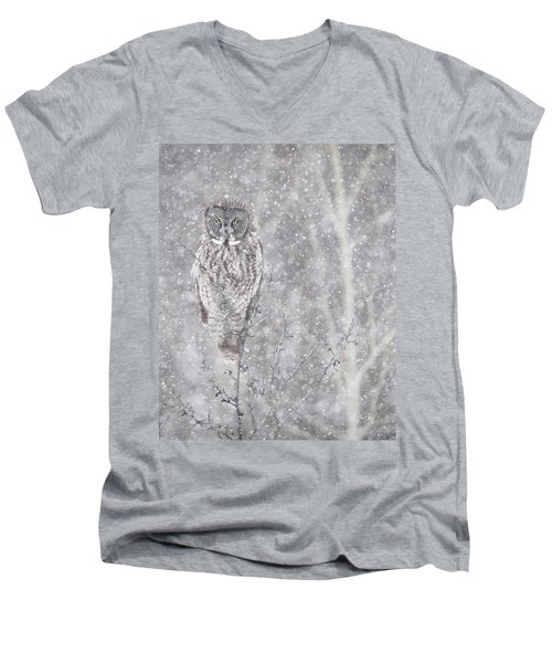 Men's V-Neck T-Shirt featuring the photograph Silent Snowfall Portrait by Everet Regal