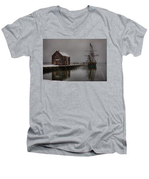 Silently The Snow Falls. Men's V-Neck T-Shirt