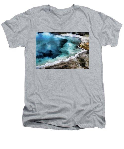 Silex Hot Springs   Impressionism Men's V-Neck T-Shirt