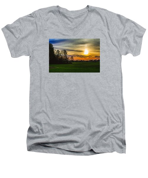 Silhouette And Sunset Men's V-Neck T-Shirt