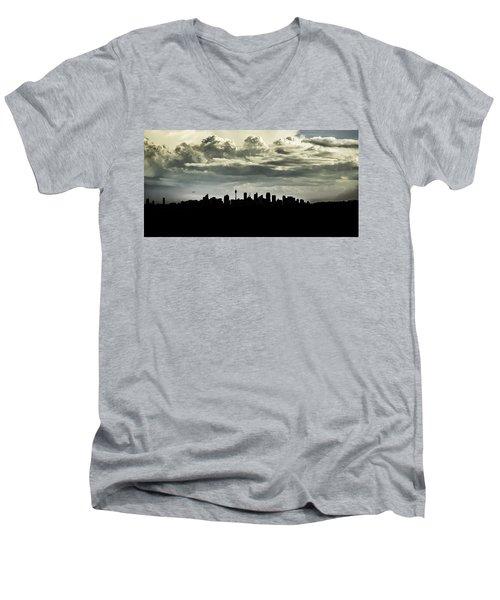 Silhouette Of Sydney Men's V-Neck T-Shirt