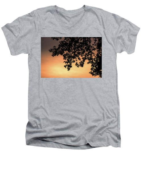 Men's V-Neck T-Shirt featuring the photograph Silhouette Tree In The Dawn Sky by Jingjits Photography