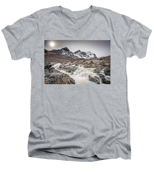 Silky Melt Water Of Athabasca Glacier Men's V-Neck T-Shirt by Pierre Leclerc Photography