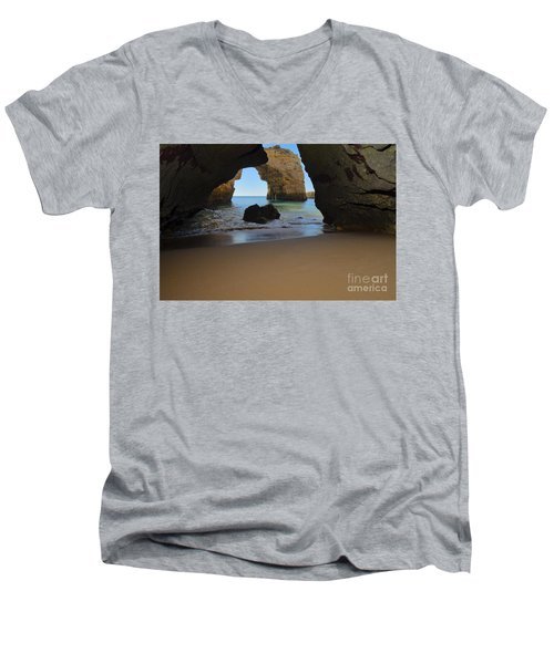 Silky Sands And Arch Men's V-Neck T-Shirt by Angelo DeVal
