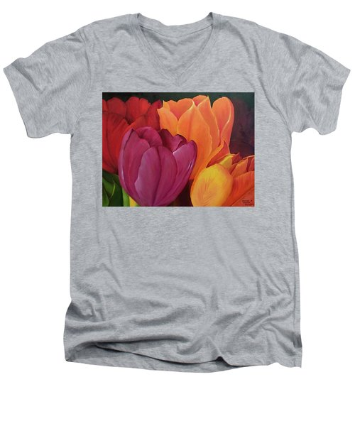 Silky Tulips Unite  Men's V-Neck T-Shirt