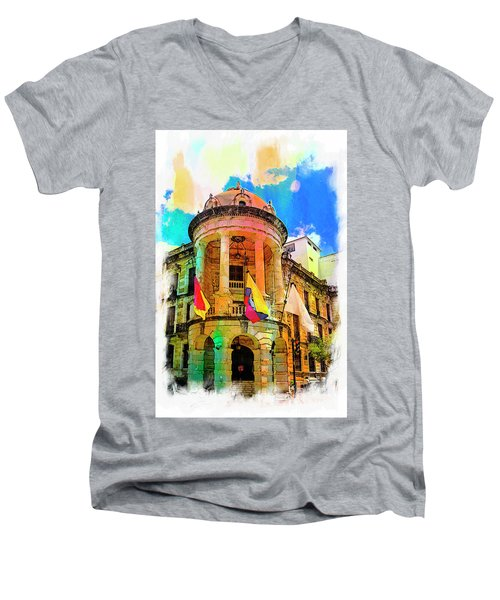 Silly Hall, Cuenca, Ecuador Men's V-Neck T-Shirt by Al Bourassa