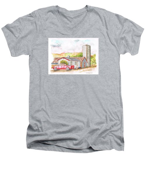 Silo In Los Olivos, California Men's V-Neck T-Shirt