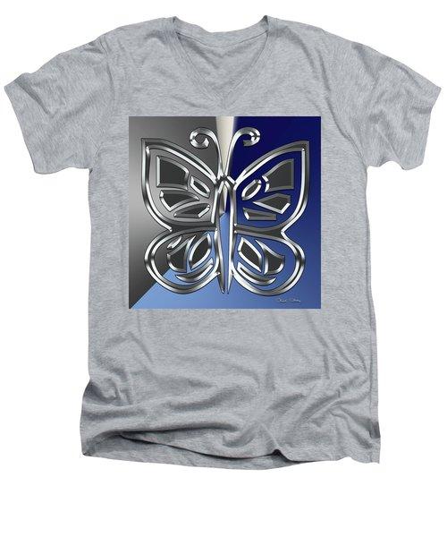 Silver Butterfly Men's V-Neck T-Shirt