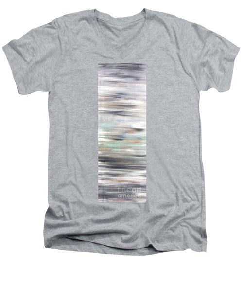 Silver Coast #25 Silver Teal Landscape Original Fine Art Acrylic On Canvas Men's V-Neck T-Shirt
